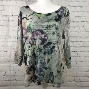 Coldwater Creek 3/4 Sleeve Gray Floral Top Sz XL18